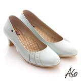 【A.S.O】俐落職場 側邊綴鑽窩心奈米中跟鞋(淺藍)