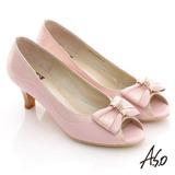 【A.S.O】典雅職場 全真皮立體蝴蝶飾露趾低跟鞋(粉紅)