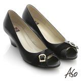【A.S.O】俐落職場 全真皮異材質壓紋魚口楔型鞋(黑)