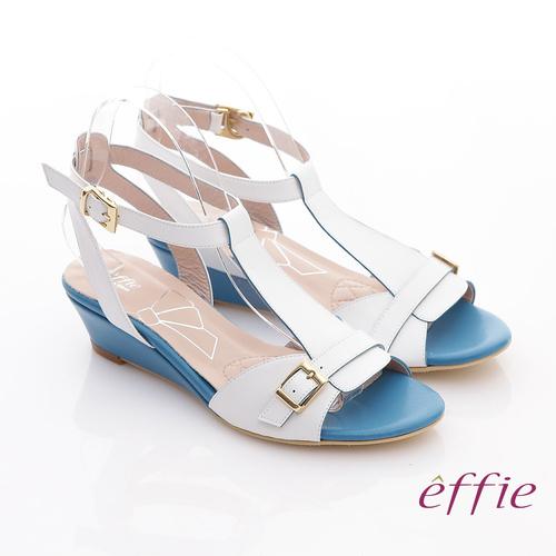 ~effie~軟芯系列 真皮軟墊T字楔型涼鞋 白