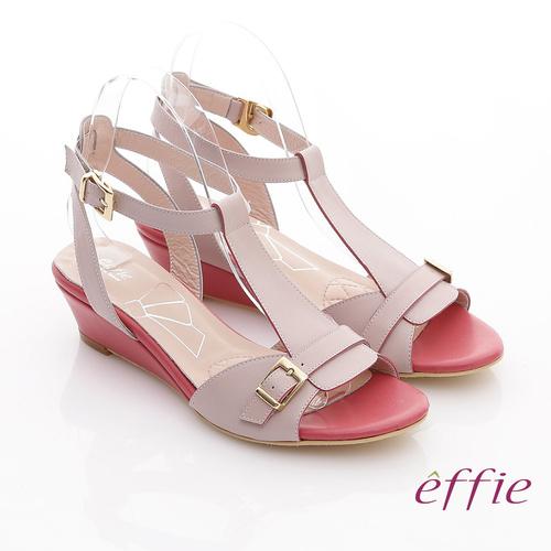 ~effie~軟芯系列 真皮軟墊T字楔型涼鞋 粉紅