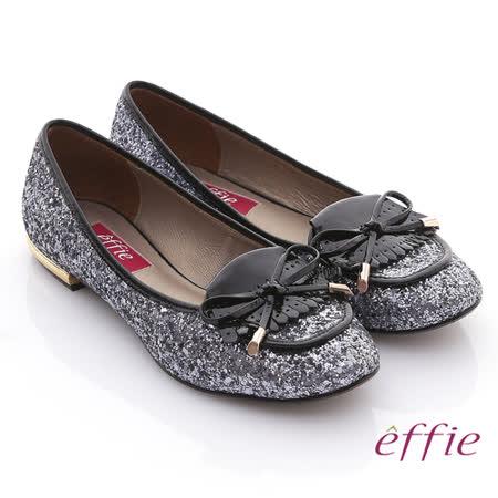 【effie】金屬裝飾 金蔥亮片鏡面牛皮細緻平底鞋(銀)