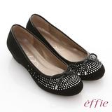 【effie】立體幾何 全絨面羊皮星光水鑽楔型跟鞋(黑)