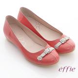 【effie】俏甜女伶 鏡面羊皮立體穿帶平底鞋(橘紅)