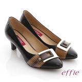 【effie】街頭玩味 全真皮鏡面配色金屬飾釦跟鞋(黑)