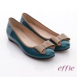 【effie】俏甜女伶 鏡面羊皮立體蝴蝶平底鞋(綠)