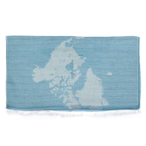 Alviero Martini 義大利地圖包 經典地圖素色方巾/L-天空藍