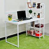 【Amos】樂活馬鞍雙向層架式多功能120*60大桌面工作桌/書桌(白色)
