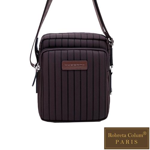Roberta Colum - 倫敦時尚紳士休閒配牛皮簡約直式側背包-咖