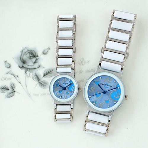 【Daniel Wang】甜美愛心-切割鏡面仿陶瓷女錶-天空藍