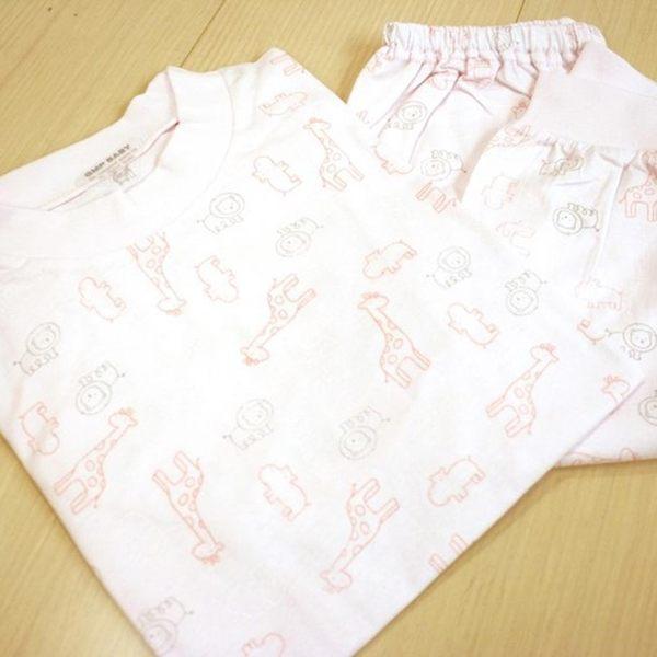 GMP BABY 舒適長頸鹿全棉圓領冷氣衫-粉紅1套(衣+褲)