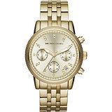 Michael Kors 璀璨晶鑽三眼計時腕錶-金/37mm MK5676
