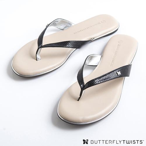 BUTTERFLY TWISTS~LOLA 記憶軟墊夾腳涼鞋~蛇紋黑