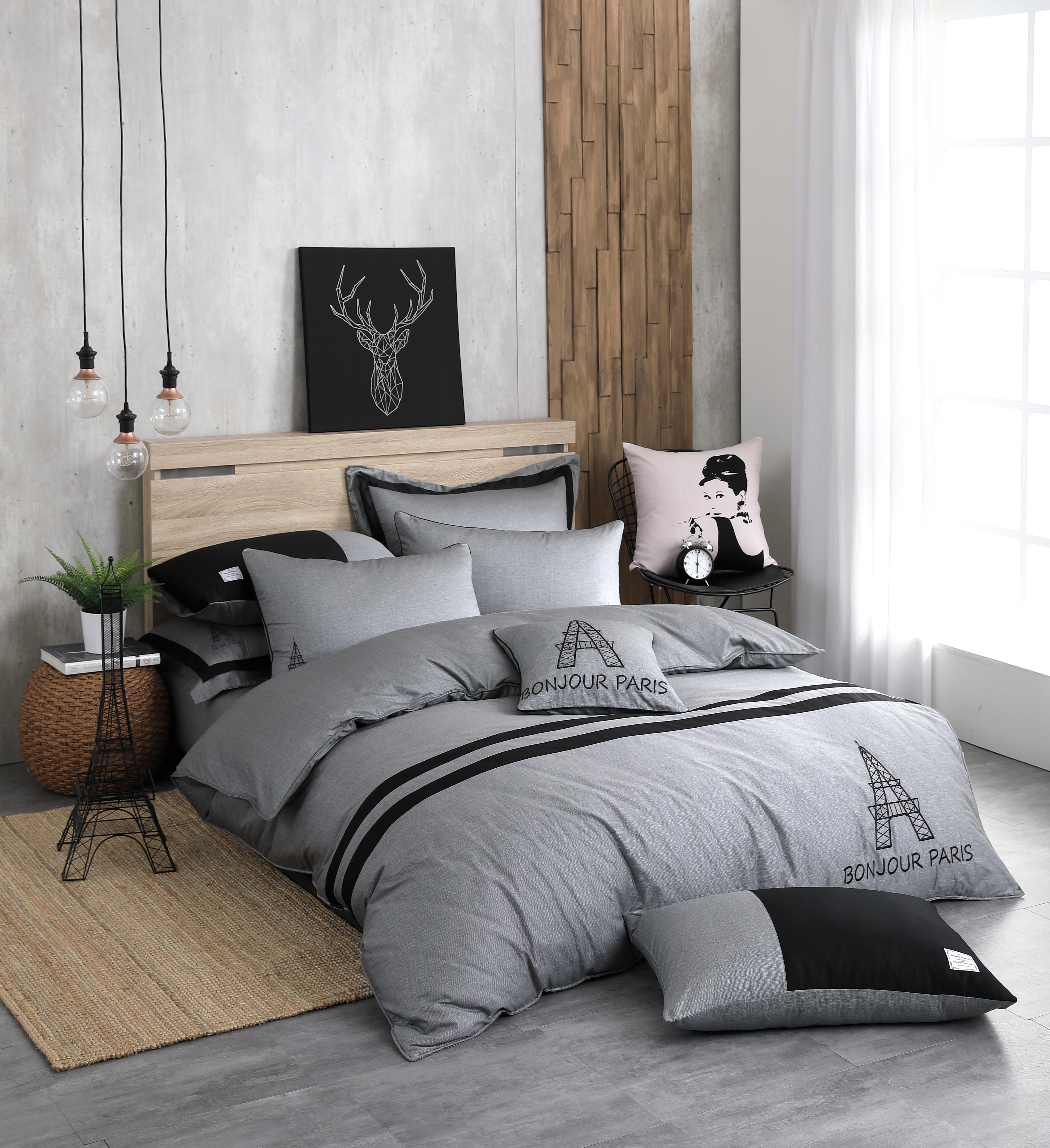OLIVIA 《 奧斯汀 深灰 》 雙人兩用被套床包四件組  設計師工業風格 MIT原創設計寢具