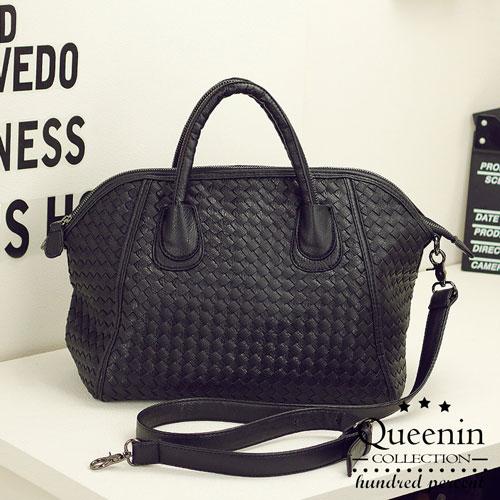 DF Queenin日韓 - 韓版編織款大容量2用式貝殼包-黑色