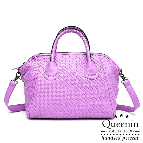 DF Queenin日韓 - 韓版編織款大容量2用式貝殼包-紫色