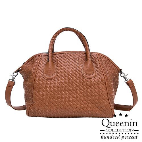 DF Queenin日韓 - 韓版編織款大容量2用式貝殼包-棕色