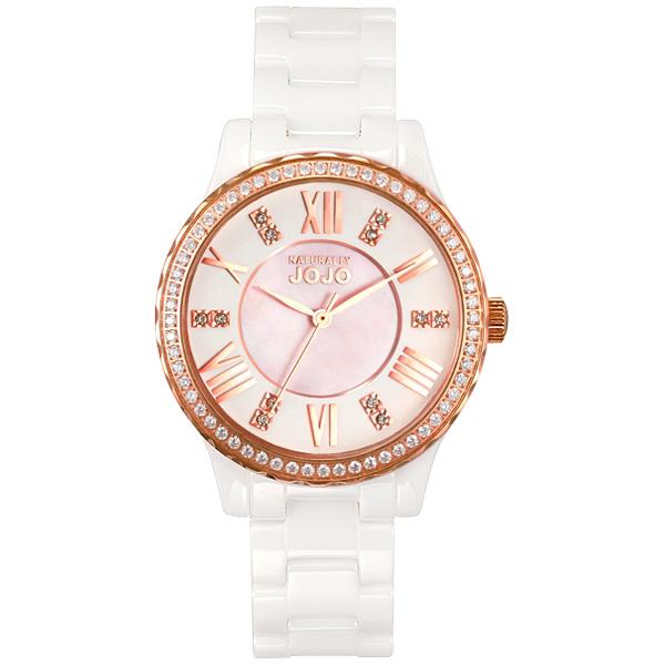 NATURALLY JOJO 帕里斯之愛晶鑽陶瓷腕錶~玫瑰金X白