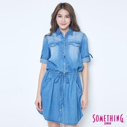 SOMETHING 網路限定 腰抽繩七分袖牛仔襯衫-女-漂淺藍