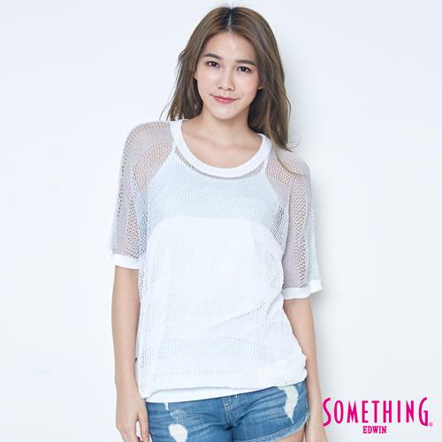 SOMETHING 銀蔥網紋短袖線衫-女-白色