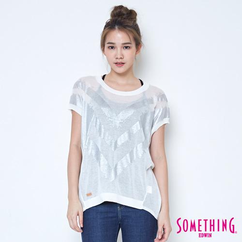 SOMETHING 優雅幾何短袖線衫-女-白色