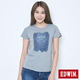 EDWIN LOGO牛仔印花短袖T恤-女-麻灰