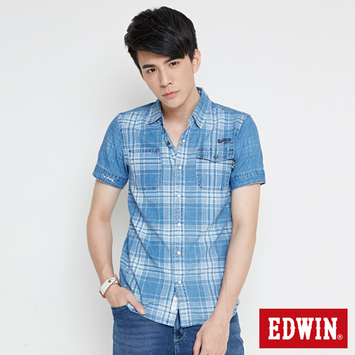EDWIN 江戶勝 INDIGO 印格短袖襯衫-男-漂淺藍