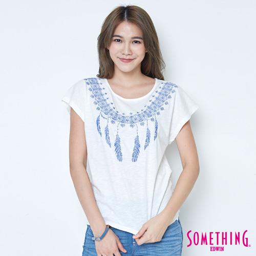 SOMETHING 民俗刺繡短袖T恤-女-白色