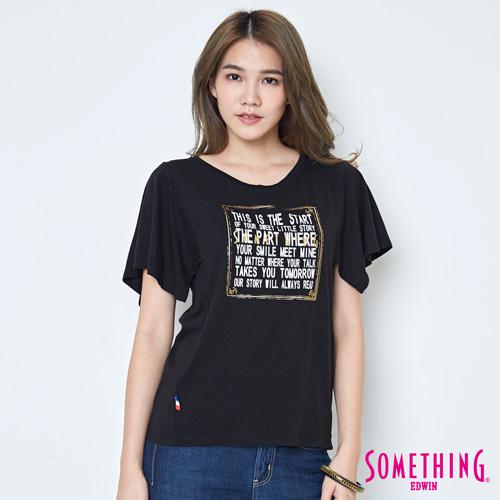 SOMETHING 寬袖時尚造型短袖T恤-女-黑色
