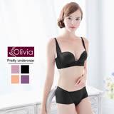 【Olivia】3D無鋼圈集中無痕珠光杯內衣褲套組(黑色)-B杯