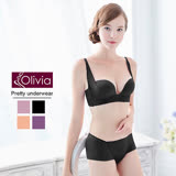 【Olivia】3D無鋼圈集中無痕珠光杯內衣褲套組(黑色)-C杯