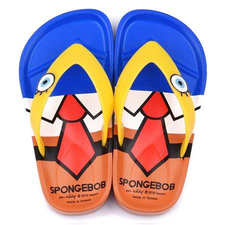 童鞋城堡-海綿寶寶 中童 造型夾腳拖鞋SG2790-藍