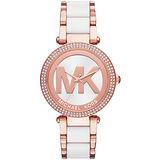 Michael Kors 懵懂高雅晶鑽計時腕錶-金X白皮帶