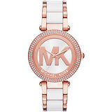 Michael Kors 懵懂高雅晶鑽計時腕錶-金框粉X卡奇皮帶
