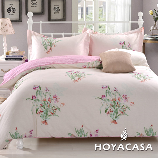 ~HOYACASA 花影倩舞~雙人四件式抗菌純棉兩用被床包組