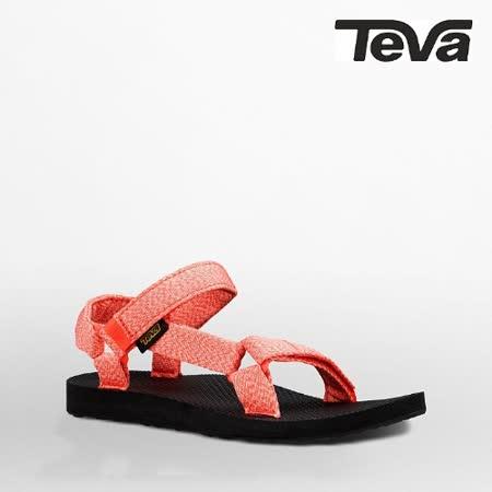 TEVA 女 織帶涼鞋(泥灰珊瑚)