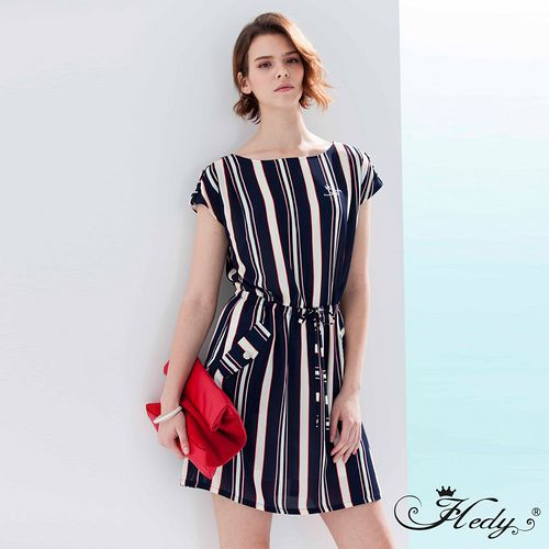 【Hedy赫蒂】配色直條紋縫釦口袋腰抽繩洋裝(共二色)