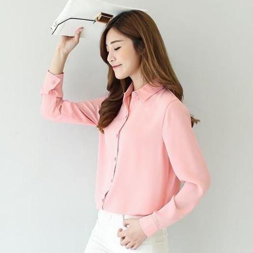 【Stoney.ax】透氣輕柔雪紡襯衫(M)-粉色