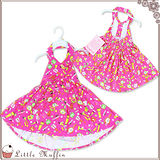 歐美夏季 棉質繽紛色彩削肩露背洋裝/公主裙