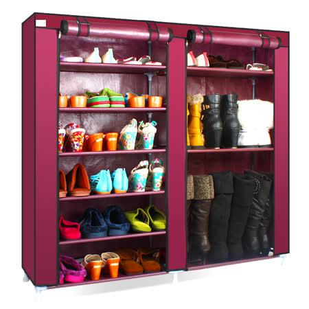 超大簡易雙排防塵鞋櫃-棗紅 -friDay購物
