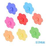 (任選)【歐奇納 OHKINA】隨手貼系列 繽紛馬卡龍花朵造形重複貼掛勾(6.8x6.8cm)-8入裝