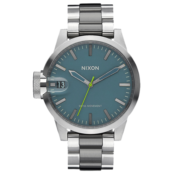 NIXON CHRONICLE 44 太空膠囊交錯時尚腕錶-銀湖水綠X雙色錶帶