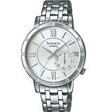 CASIO SHEEN 率性時尚晶鑽女用腕錶-34mm/SHE-3046DP-7A