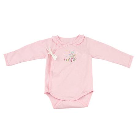 【愛的世界】MYBABY 小蝴蝶系列長袖綁帶式連身衣-粉色/3個月~6個月-台灣製-