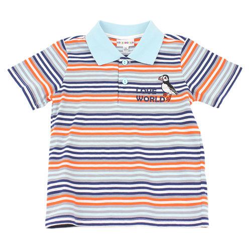 【愛的世界】LOVEWORLD 海鸚鵡系列橫紋短袖POLO衫/6~10歲-台灣製-