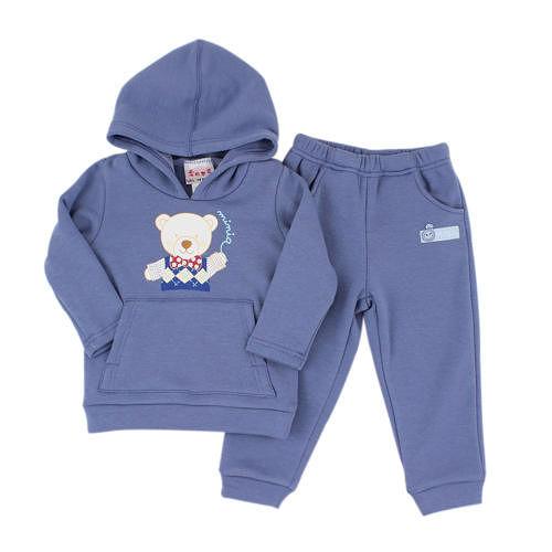 【愛的世界】MYBABY 小熊兄弟系列保暖刷毛彈性套裝/6~12歲-中國製-
