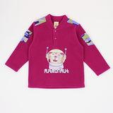 【愛的世界】MYBABY 太空人系列保暖搖粒絨上衣-酒紅色/6~10歲-中國製-