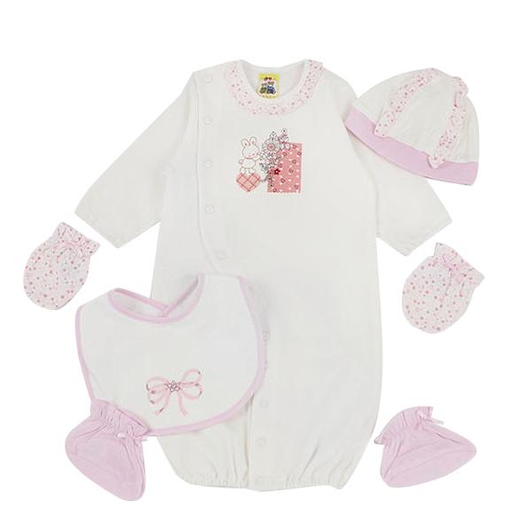 【愛的世界】MYBABY 小兔與雲系列純棉長袖兩用嬰衣套組5件組(不附盒)/3~6個月-台灣製-