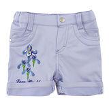 【愛的世界】LOVEWORLD 鳶尾花系列 繡花休閒反摺短褲/2~4歲 -台灣製-
