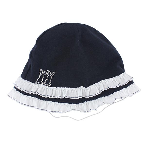 【愛的世界】pappa&ciccia 荷葉邊嬰幼兒帽子-藏青/42~44CM-台灣製-